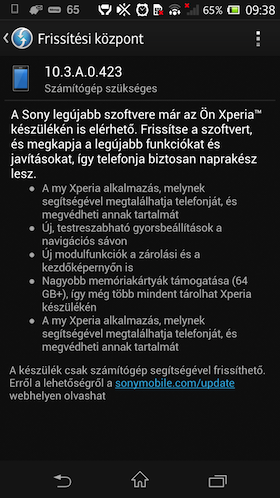Sony Xperia Z Android 4.2.2 update screen shot