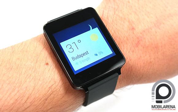 LG G Watch karon mutatja az időjárást