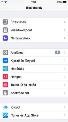 Apple iPhone 6 beállítások