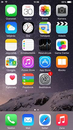 Apple iPhone 6 menü
