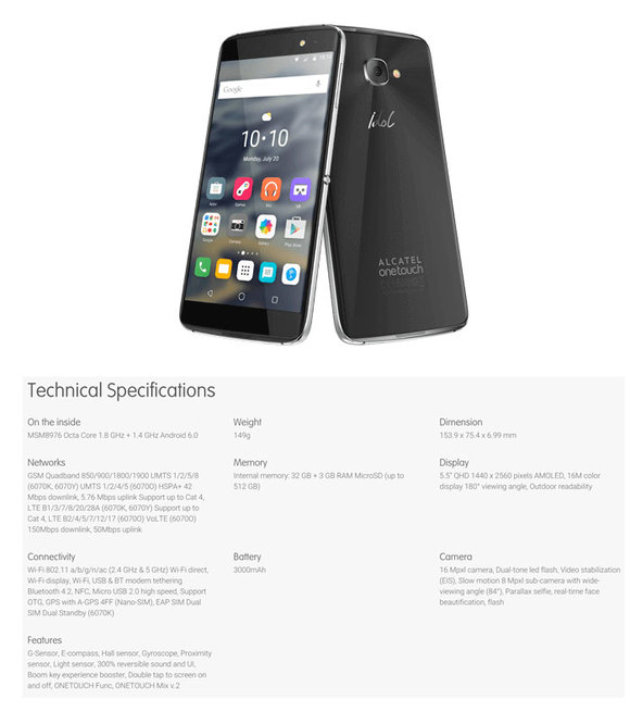 Alcatel One Touch Idol 4S