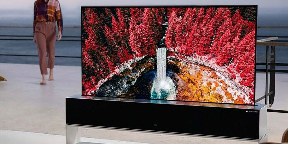 The picture shows a roll-up OLED TV already available from LG