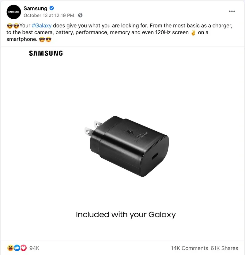 Samsung's community post in mid-October