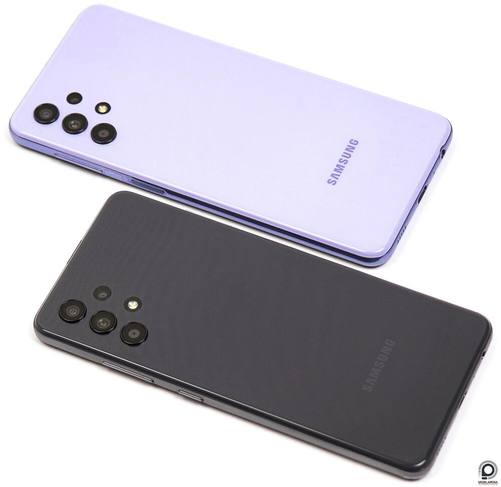 A Galaxy A32 4G sötétszürkében, az 5G lilában