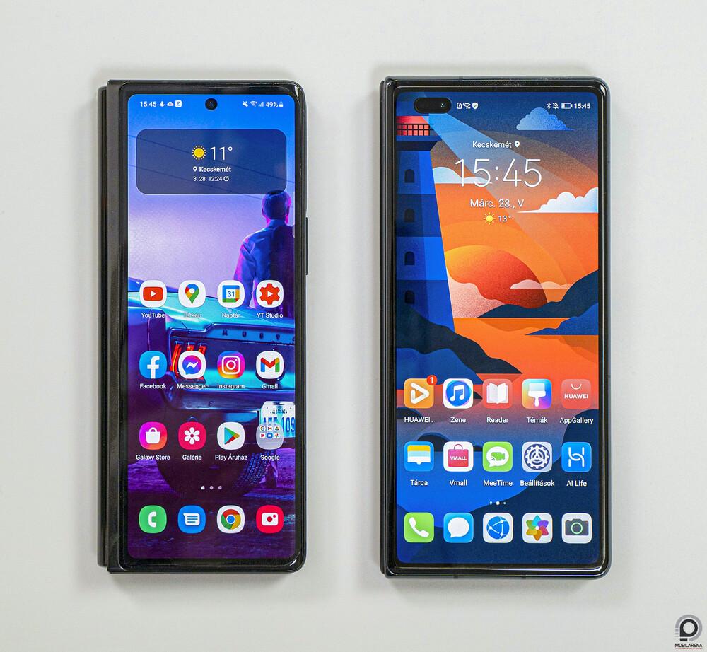 A Galaxy Z Fold2 a Mate X2 társaságában
